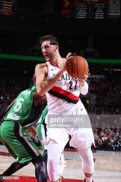 Jusuf Nurkic of the Portland Trail Blazers handles the ball during the preseason game against the Maccabi Haifa on October 13 2017 at the Moda Center...