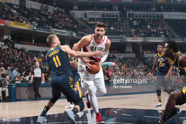 Jusuf Nurkic of the Portland Trail Blazers handles the ball during the game against the Indiana Pacers on October 20 2017 at Bankers Life Fieldhouse...