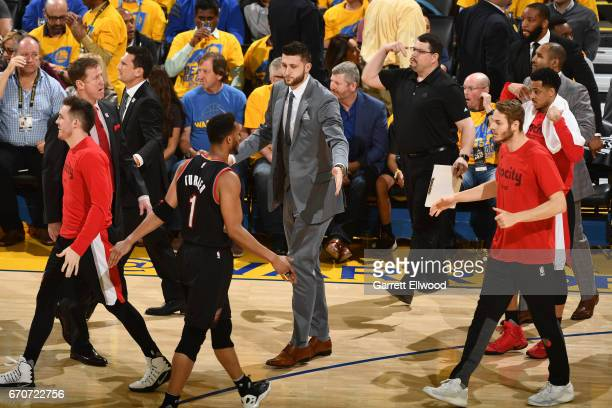 Jusuf Nurkic of the Portland Trail Blazers high fives teammates during the Western Conference Quarterfinals game against the Golden State Warriors...