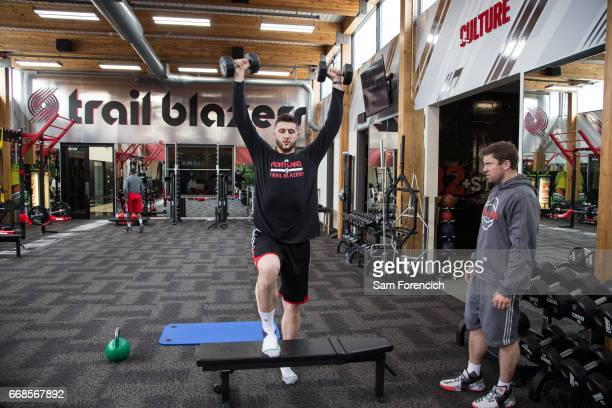 Jusuf Nurkic of the Portland Trail Blazers lifts during an all access practice on April 11 2017 at the Trail Blazers Practice Facility in Portland...