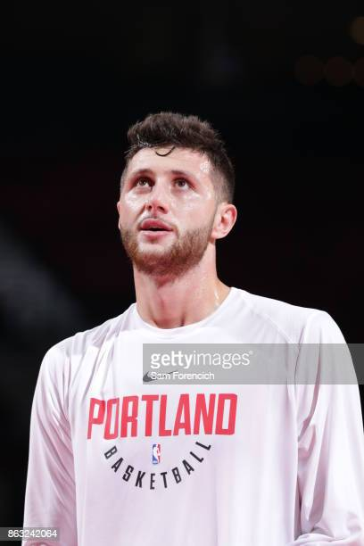 Jusuf Nurkic of the Portland Trail Blazers looks on before the preseason game against the Maccabi Haifa on October 13 2017 at the Moda Center in...