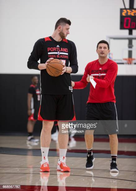 Jusuf Nurkic of the Portland Trail Blazers looks on during an all access practice on April 11 2017 at the Trail Blazers Practice Facility in Portland...