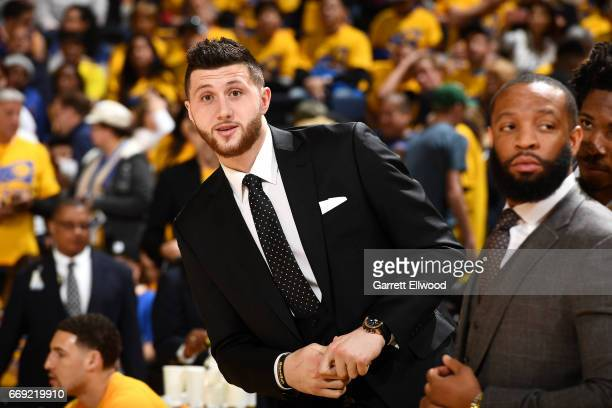 Jusuf Nurkic of the Portland Trail Blazers looks on during the game against the Golden State Warriors during the Western Conference Quarterfinals of...
