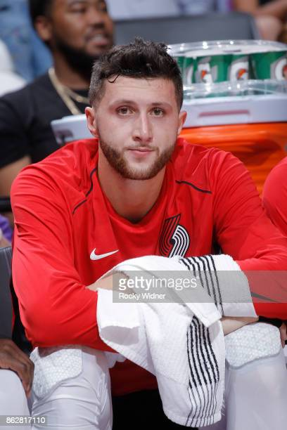Jusuf Nurkic of the Portland Trail Blazers looks on during the game against the Sacramento Kings on October 9 2017 at Golden 1 Center in Sacramento...