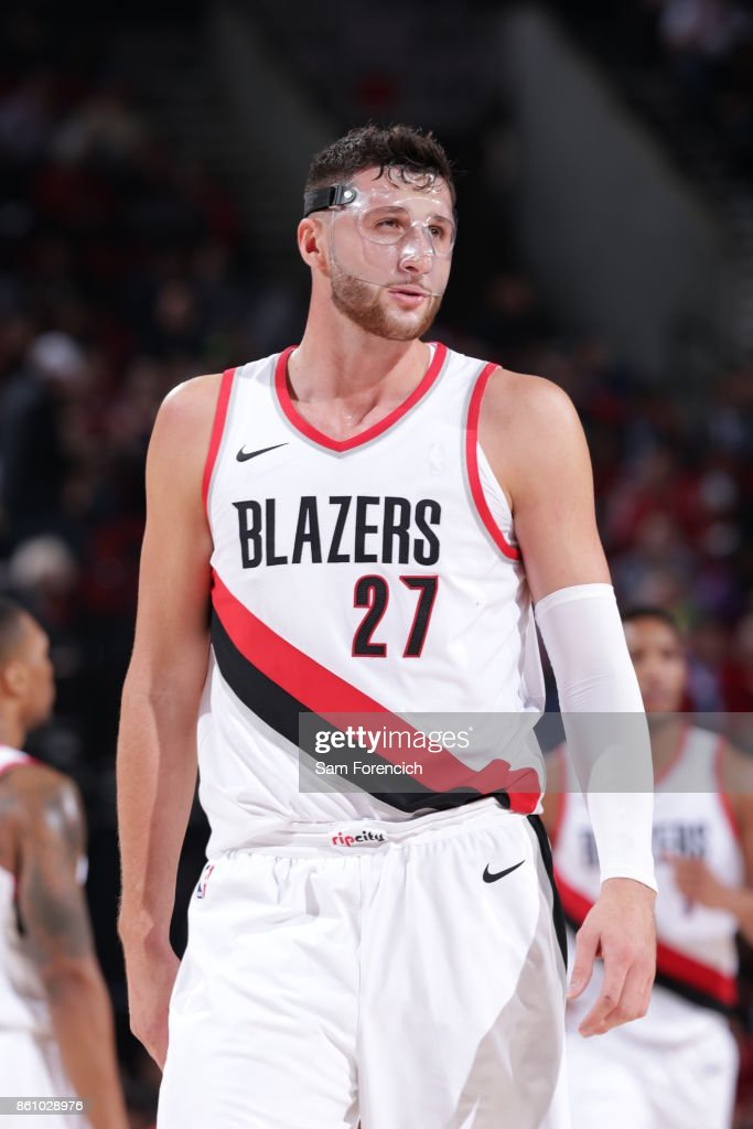 Jusuf Nurkic #27 of the Portland Trail Blazers reacts during a pre season game against the Toronto Raptors on October 5, 2017 at the Moda Center in Portland, Oregon.