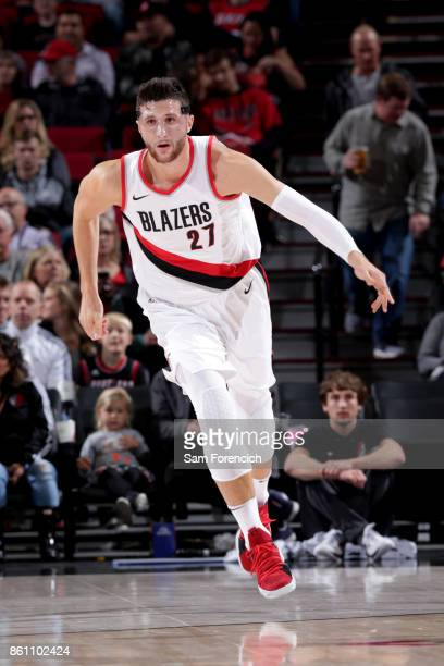 Jusuf Nurkic of the Portland Trail Blazers reacts during the preseason game against the Maccabi Haifa on October 13 2017 at the Moda Center in...