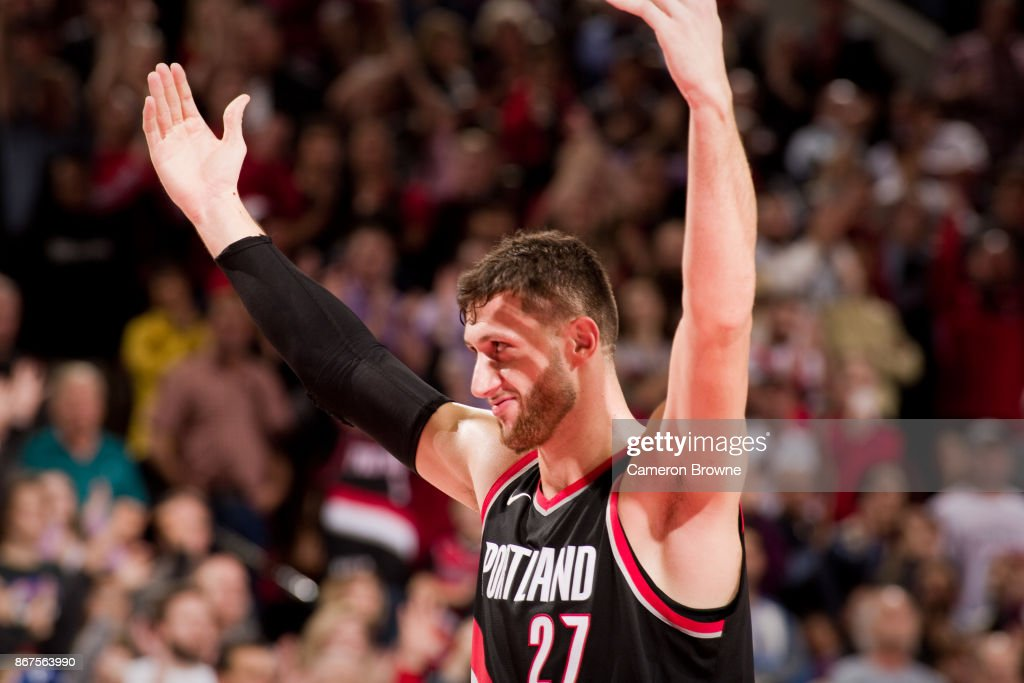 Jusuf Nurkic #27 of the Portland Trail Blazers reacts during the game against the LA Clippers on October 26, 2017 at the Moda Center in Portland, Oregon.