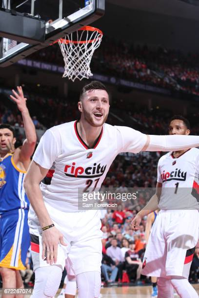 Jusuf Nurkic of the Portland Trail Blazers reacts to a call against the Golden State Warriors in Game Three of the Western Conference Quarterfinals...