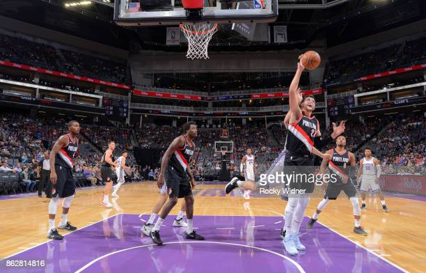 Jusuf Nurkic of the Portland Trail Blazers rebounds against the Sacramento Kings on October 9 2017 at Golden 1 Center in Sacramento California NOTE...