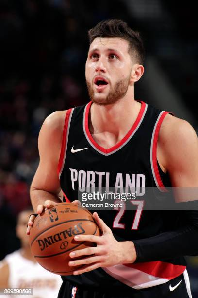 Jusuf Nurkic of the Portland Trail Blazers shoots a free throw against the Los Angeles Lakers on November 2 2017 at the Moda Center in Portland...