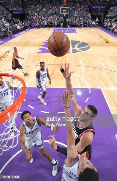 Jusuf Nurkic of the Portland Trail Blazers shoots against the Sacramento Kings on October 9 2017 at Golden 1 Center in Sacramento California NOTE TO...