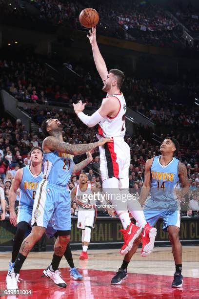 Jusuf Nurkic of the Portland Trail Blazers shoots the ball against the Denver Nuggets on March 28 2017 at the Moda Center in Portland Oregon NOTE TO...