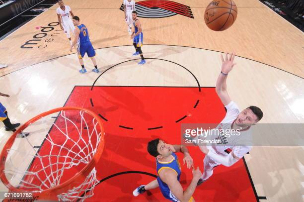 Jusuf Nurkic of the Portland Trail Blazers shoots the ball against the Golden State Warriors in Game Three of the Western Conference Quarterfinals of...