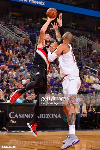 Jusuf Nurkic of the Portland Trail Blazers shoots the ball against the Phoenix Suns on October 18 2017 at Talking Stick Resort Arena in Phoenix...