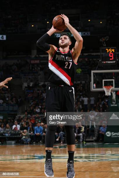 Jusuf Nurkic of the Portland Trail Blazers shoots the ball against the Milwaukee Bucks on October 21 2017 at the BMO Harris Bradley Center in...