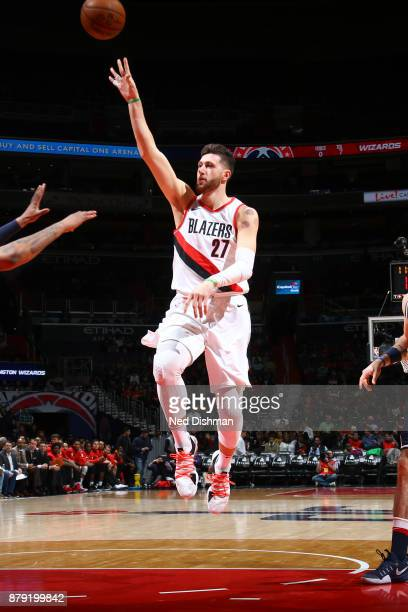 Jusuf Nurkic of the Portland Trail Blazers shoots the ball against the Washington Wizards on November 25 2017 at Capital One Arena in Washington DC...