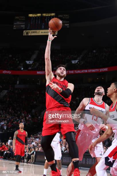 Jusuf Nurkic of the Portland Trail Blazers shoots the ball against the Washington Wizards on December 5 2017 at the Moda Center Arena in Portland...