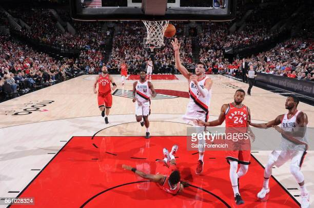 Jusuf Nurkic of the Portland Trail Blazers shoots the ball during a pre season game against the Toronto Raptors on October 5 2017 at the Moda Center...