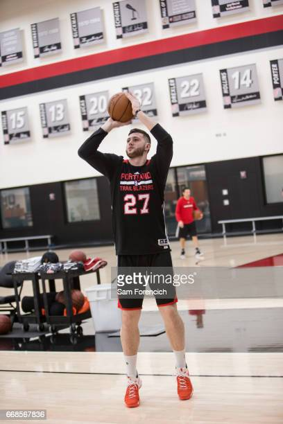 Jusuf Nurkic of the Portland Trail Blazers shoots the ball during an all access practice on April 11 2017 at the Trail Blazers Practice Facility in...