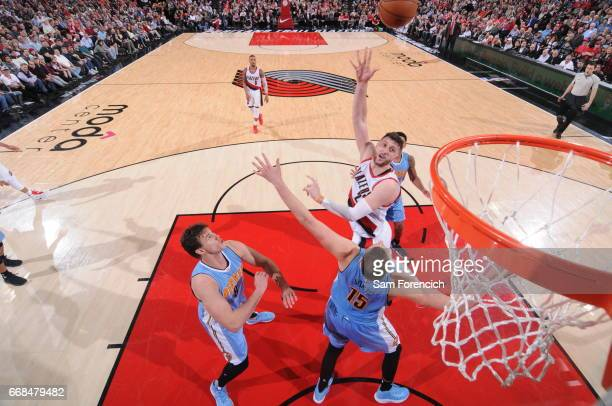 Jusuf Nurkic of the Portland Trail Blazers shoots the ball during the game against the Denver Nuggets on March 28 2017 at the Moda Center in Portland...
