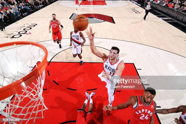 Jusuf Nurkic of the Portland Trail Blazers shoots the ball during the game against the Toronto Raptors during a preseason game on October 5 2017 at...