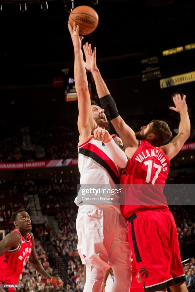 Jusuf Nurkic #27 of the Portland Trail Blazers shoots the ball during the preseason game against the Toronto Raptors on October 5, 2017 at the Moda Center Arena in Portland, Oregon.
