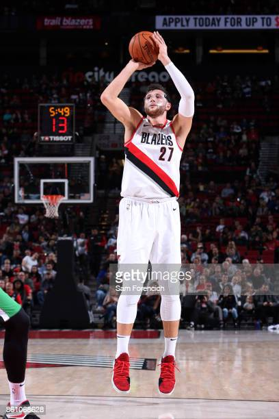 Jusuf Nurkic of the Portland Trail Blazers shoots the ball during the preseason game against the Maccabi Haifa on October 13 2017 at the Moda Center...