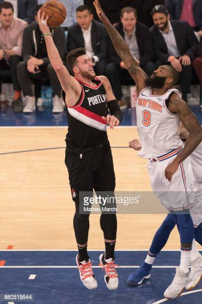 Jusuf Nurkic of the Portland Trail Blazers shoots the ball during the first half of the game against the New York Knicks at Madison Square Garden on...