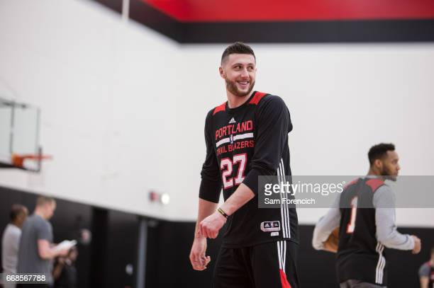 Jusuf Nurkic of the Portland Trail Blazers smiles during an all access practice on April 11 2017 at the Trail Blazers Practice Facility in Portland...