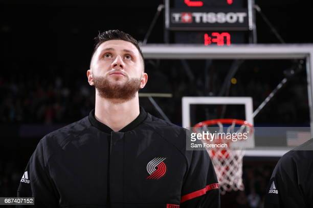 Jusuf Nurkic of the Portland Trail Blazers stands for the National Anthem before the game against the New York Knicks on March 23 2017 at the Moda...