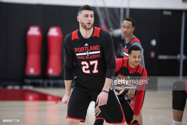 Jusuf Nurkic of the Portland Trail Blazers stretches during an all access practice on April 11 2017 at the Trail Blazers Practice Facility in...