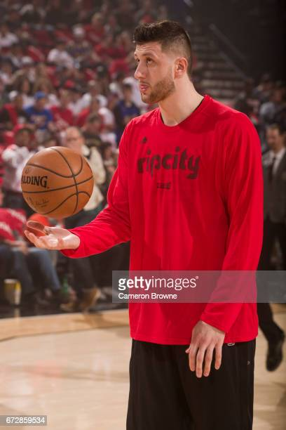 Jusuf Nurkic of the Portland Trail Blazers warms up before Game Three of the Western Conference Quarterfinals against the Golden State Warriors of...