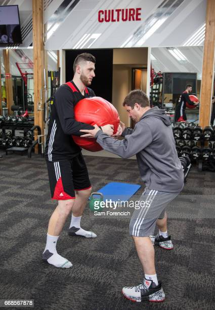 Jusuf Nurkic of the Portland Trail Blazers works out during an all access practice on April 11 2017 at the Trail Blazers Practice Facility in...