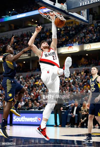 Jusuf Nurkic of the Portland Trailblazers dunks the ball against the Indiana Pacers at Bankers Life Fieldhouse on October 20 2017 in Indianapolis...