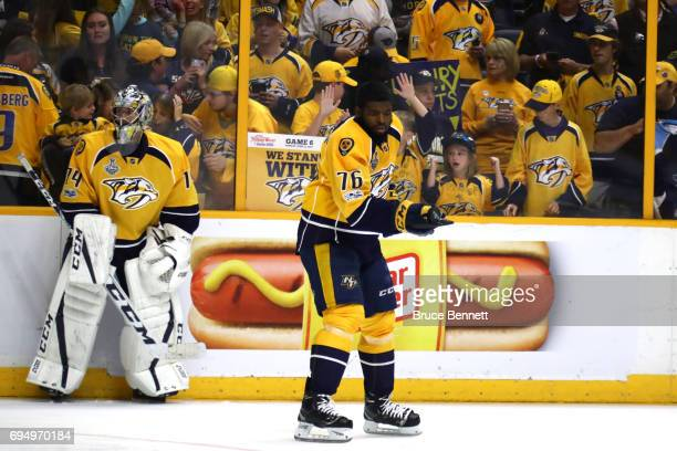 Juuse Saros and PK Subban of the Nashville Predators warm up prior to Game Six of the 2017 NHL Stanley Cup Final against the Pittsburgh Penguins at...