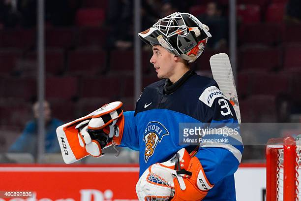 Juuse Saros of Team Finland looks on during the 2015 IIHF World Junior Hockey Championship game against Team Slovakia at the Bell Centre on December...