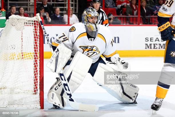 Juuse Saros of the Nashville Predators crouches in the crease to protect the net during an NHL game against the Carolina Hurricanes on March 18 2017...