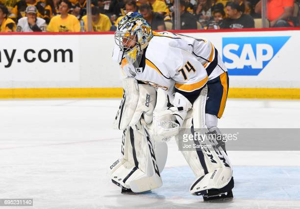 Juuse Saros of the Nashville Predators defends the net against the Pittsburgh Penguins in Game Five of the 2017 NHL Stanley Cup Final at PPG Paints...