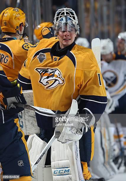Juuse Saros of the Nashville Predators gets a break in action against the Buffalo Sabres during an NHL game at Bridgestone Arena on November 28 2015...