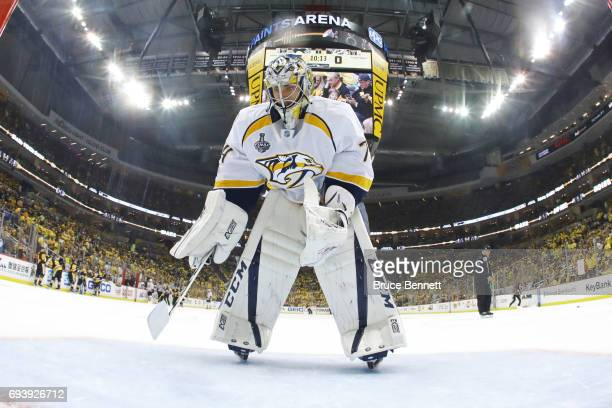 Juuse Saros of the Nashville Predators looks on during a timeout in the second period against the Pittsburgh Penguins in Game Five of the 2017 NHL...
