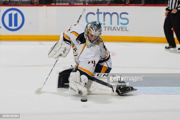 Juuse Saros of the Nashville Predators makes a save during the game against the New York Islanders at Barclays Center on March 27 2017 in the...