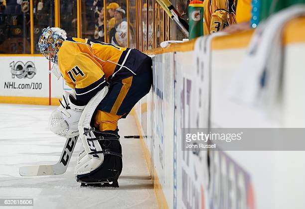 Juuse Saros of the Nashville Predators prepares to start in net against the Buffalo Sabres during an NHL game at Bridgestone Arena on January 24 2017...