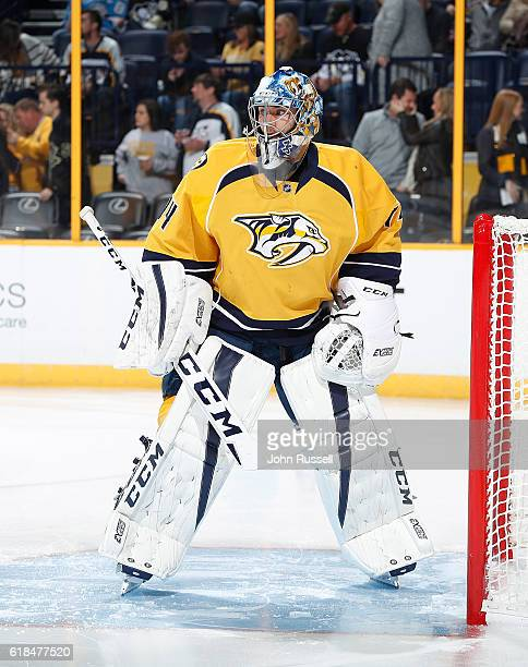 Juuse Saros of the Nashville Predators skates in warmups prior an NHL game against the Pittsburgh Penguins at Bridgestone Arena on October 22 2016 in...