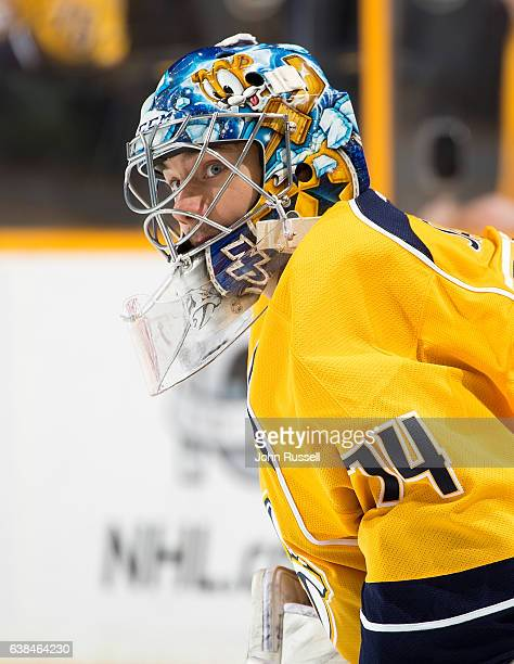 Juuse Saros of the Nashville Predators skates in warmups prior to the game against the Vancouver Canucks during an NHL game at Bridgestone Arena on...