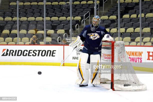 Juuse Saros of the Nashville Predators tends goal in practice during Media Day for the 2017 NHL Stanley Cup Final at PPG PAINTS Arena on May 28 2017...