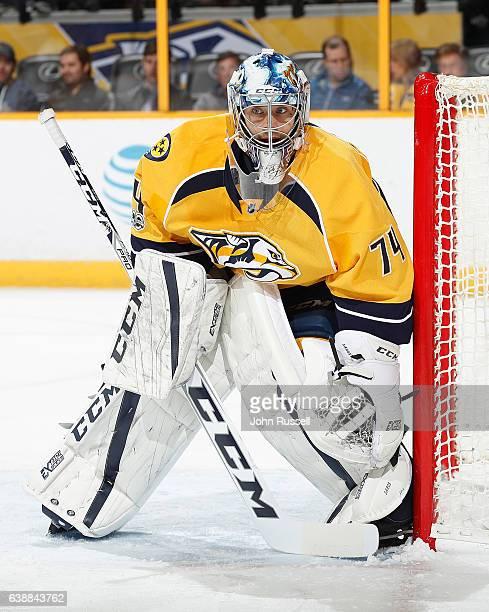 Juuse Saros of the Nashville Predators tends net against the Boston Bruins during an NHL game at Bridgestone Arena on January 12 2017 in Nashville...