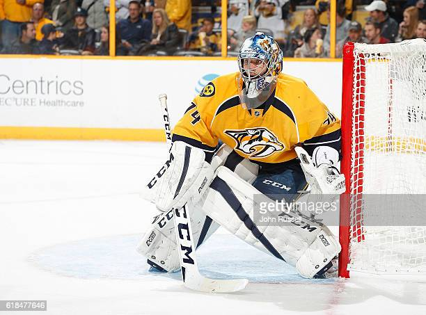 Juuse Saros of the Nashville Predators tends net against the Pittsburgh Penguins during an NHL game at Bridgestone Arena on October 22 2016 in...