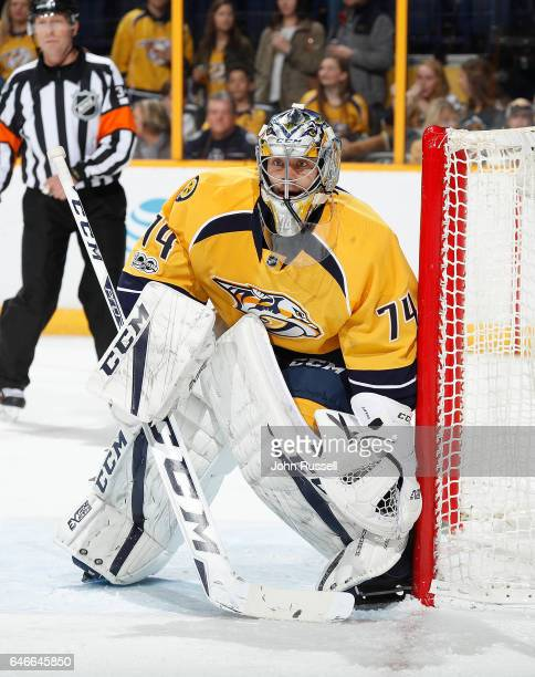 Juuse Saros of the Nashville Predators tends net against the Washington Capitals during an NHL game at Bridgestone Arena on February 25 2017 in...