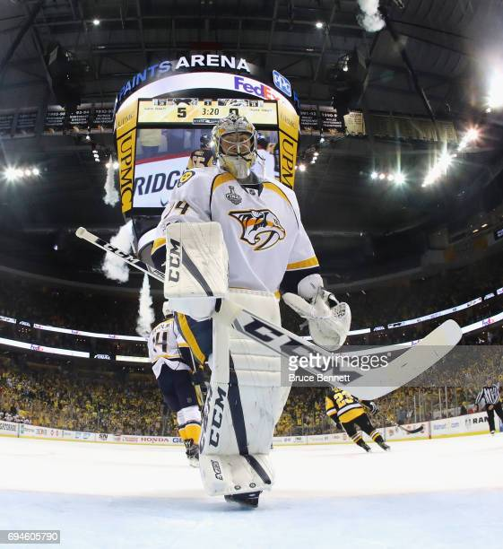 Juuse Saros of the Nashville Predators tends net against the Pittsburgh Penguins in Game Five of the 2017 NHL Stanley Cup Final at the PPG PAINTS...