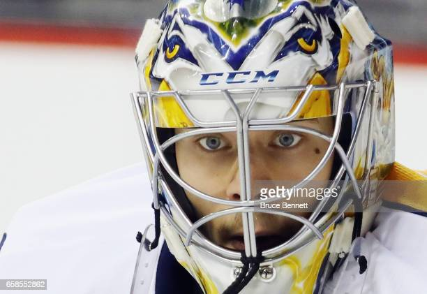 Juuse Saros of the Nashville Predators tends net against the New York Islanders at the Barclays Center on March 27 2017 in the Brooklyn borough of...